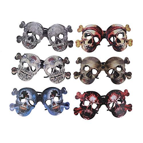 Amosfun 6 kreative Party-Brille lustiges Skelett Halloween Brille Cosplay Requisiten für Halloween Party Dekorationen