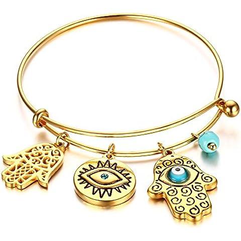 LianDuo Placcato oro filo di acciaio inossidabile braccialetto registrabile Il braccialetto delle donne con turchese del bulbo oculare e Hamsa mano fascino