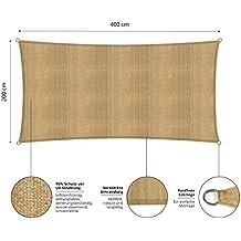 Lumaland tenda da sole 2 x 4, con incluse corde di nylon per il montaggio, 100% HDPE con filtro di protezione UV, color sabbia
