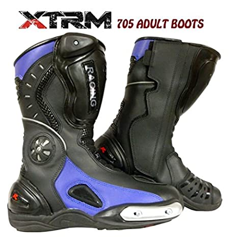 Men's Motorcycle XTRM 705 Motorbike Racing Armour Sports Boots Black/Blue - CLEARANCE SALE - Black/Blue - 45/11