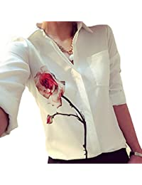 Tongshi Las mujeres de manga larga blusa de la flor de Rose gira el collar abajo Gasa