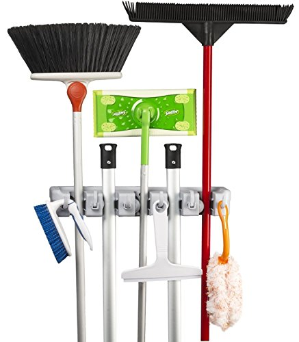 Brush, Broom and Mop Holder + Tool Hanger   5 Position and 6 Hooks   Wall Mounted Rack   Cupboard Tidy Storage Organiser for Rake, Duster, Sweeper
