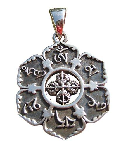 Himalayan Treasures 925Silber Ohm viswa Dorje Anhänger Halskette buddhistischen Schmuck Art A7