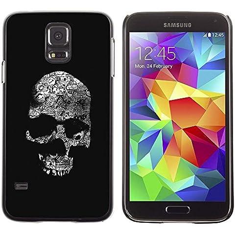 Copertura di plastica Shell Custodia protettiva || Samsung Galaxy S5 SM-G900 || Skull Dark Black (Patterns Bone)