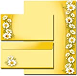 20-piece set. Letter Paper Sheets with Daisies Design + Matching DL Non-Windowed Envelopes (Pack of 10)