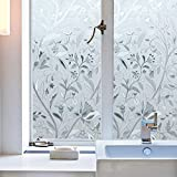 Bloss Vinyl Etched Flowers Static Decorative Frosted Privacy Window Films for Glass (17.7-by-78.7 Inch)