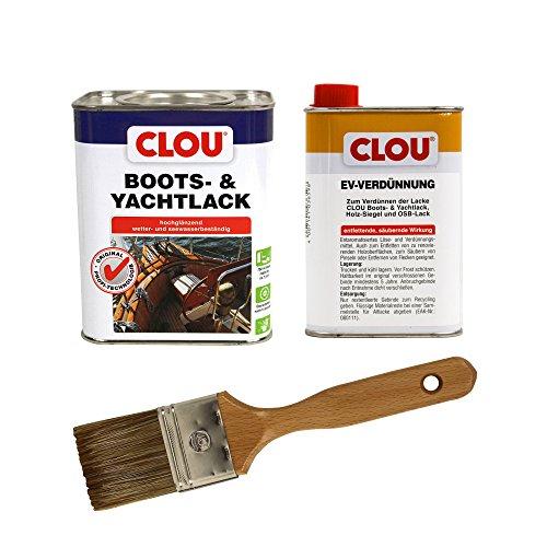 CLOU Boots & Yachtlack, hochglänzender Klarlack für besonders beanspruchte Holzflächen inkl. EV-Verdünner und Pinsel, verschiedene Größen zur Auswahl (0,75 l Bootslack + 0,25 l Verdünner + Pinsel)