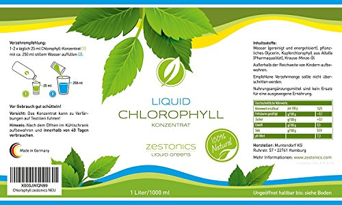Liquid chlorophyll from alfalfa with mint flavour, high-dose, one month supply, 1000 ml, alkaline, liquid chlorophyll concentrate – Made in Germany.