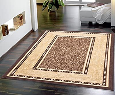 Ottohome Collection Chocolate Contemporary Bordered Design Modern Runner Rug With Non-Skid (Non-Slip) Rubber Backing (100X150cm) Machine Washable Hall Bathroom Kitchen Runner Rugs New Long Easy Clean Hallway Mat ... produced by Ottomanson - quick delivery