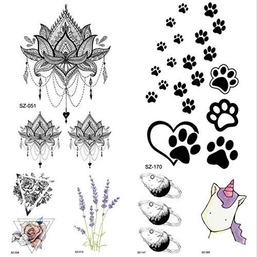 MRKAL Schwarz Kleine Pfoten Temporäre Tätowierung Weiblicher Körper Arm Lotus Anhänger Tattoo Aufkleber Mädchen Mode Knöchel Einhorn Fake Tattoo DIY