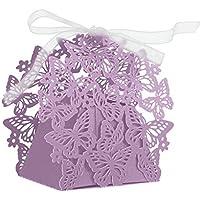 LAVINAYA-50pcs Wedding favors/Romantic-set di decorazioni fai da te a forma di farfalla Candy-Scatola per biscotti, idea regalo per matrimoni, con nastro rosa chiaro viola