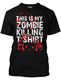 HotScamp Premium This Is My Zombie Killing T-Shirt Bloody Handprint Mens and Kids Black T-Shirt - Sizes Age 9/11 - 3XL