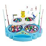 Z.X Magnetischer Fische Angeln Spielzeug mit Elektrisch Angelspiel Musik Fischen Set für Kinder ab 3 4 5 Jahren