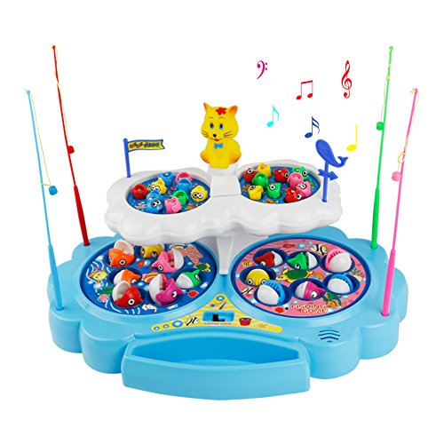 Musicale Magnete da Pesca Con 4 Canne da Pesca Gioco da Pesca Elettrico Gioco Magnetico Gioco di Pesca 34 Pezzi per bambini 3+