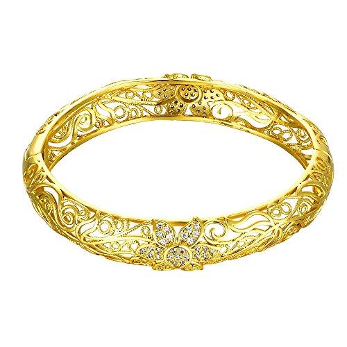 YAZILIND Modeschmuck Hollow geschnitzte Blume Intarsien Zirkonia Gold überzogen Armband für Frauen Mädchen