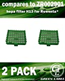 Lot de 2 filtres HEPA H13 pour les aspirateurs Rowenta Silence Force et X-Trem Power (alternative à ZR002901). Produit authentique de Green Label