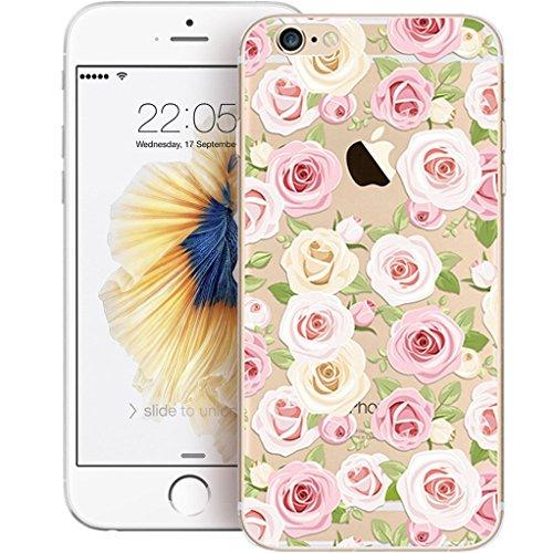 Cover iPhone SE/5/5s [Pellicola Protettiva in Vetro Temperato], Bestsky Cute Cartone Animato Colorato Fiore Pattern Trasparente Gel Silicone Bumper Case Custodia Per iPhone SE/5/5s, Banana #14