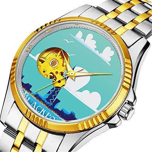 Mechanische Uhr Herrenuhr Klassische mechanische Uhr Timeless Design Mechanic (Gold) 200.Blackpool, England Oldtimer-Reiseplakate