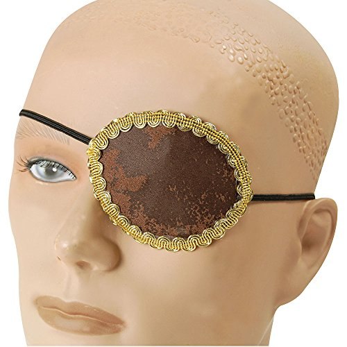 Kostüm Und Piraten Degen Herren Mantel - Bristol Novelty ba1091 Pirat Brown Eye Patch Plus Gold Trim für Fancy Kleid, One Size