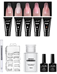 10 Pack Nail Gel Starter Set, Pawaca Professional All-in-One Poly Gel Nail Art Set with 5pcs 15ml Quick Building Gel, 100pcs Nail Tip Mold, UV Gel Pen, Base Coat Top Coat & 160ml Mild Remover
