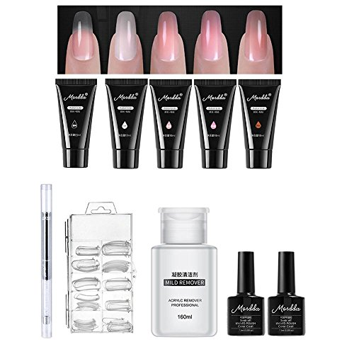 Lot de 10 Gel de faux ongles, Pawaca Professional tout-en-un Poly Gel Nail Art Kit avec 5 Lot de gel de construction rapide 15 ml, 100 pcs Moule à ongles, gel UV Pen, couche de base top coat 160 ml et doux