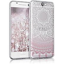 kwmobile Hülle für HTC One A9 - TPU Silikon Backcover Case Handy Schutzhülle - Cover klar Indische Sonne Design Rosa Weiß Transparent