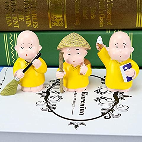 Three Little Monk Cute Cartoon Décoration Creative Resin Crafts Salon Chambre à coucher de bureau Ornement idéal Cadeau ,