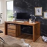 WOHNLING Schreibtisch BOHA Massiv-Holz Sheesham Computertisch 200 cm breit Echtholz Design Ablage Büro-Tisch Landhaus-Stil Natur-Produkt Büro-Möbel dunkel-braun Modern Büroeinrichtung rechteckig 76 cm hoch