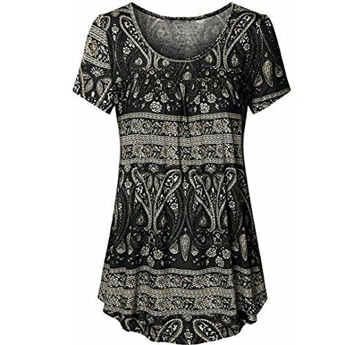 VJGOAL Women Scoop Neck Pleated Large Code Short Sleeve Blouse Top Tunic Shirt O Neck Print Blouse Long T Shirts