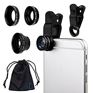 Black Clip On 180 Degrees Portable 3 in 1 Camera Lens Kit - FishEye - Wide Angle - Macro for Philips W8355