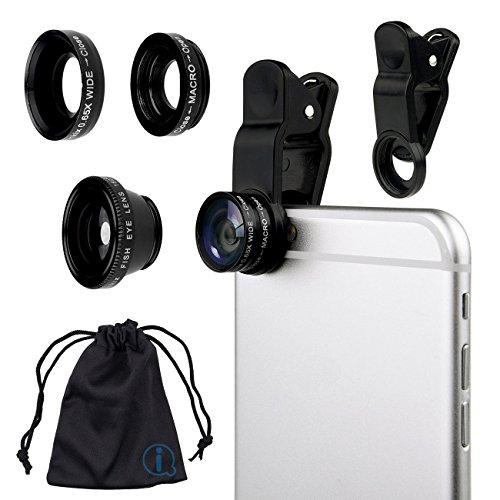 Schwarz Klipp auf 180 Grad Portable 3 in 1 Kamera-Objektiv-Kit - FishEye - Weitwinkel - Makro für Microsoft Lumia 535