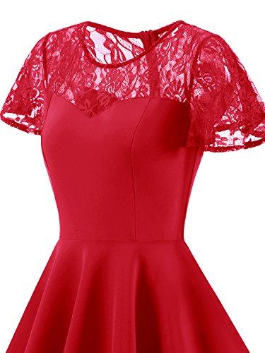 IVNIS Damen Spitze Vintage Kleid 50er Rockabilly A-Linie Kurzarm Brautjungfernkleid Cocktail Partykleid Rot