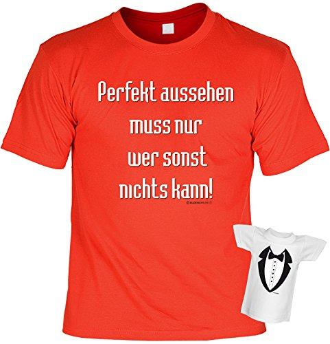 Witziges Fun-shirt - Tshirt als Geschenk mit Minishirt - Rot - Perfekt aussehen Rot