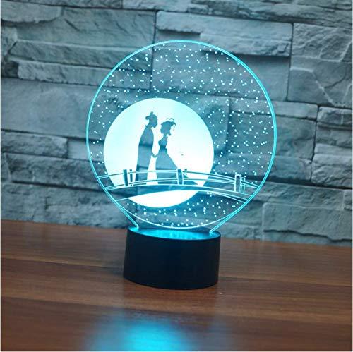 3D Nachtlicht Visuelle Acryl Elster Brücke 3D Illusion Lampe 7 Farben Ändern Usb Led Tischlampe Chinesische Valentinstag Lampe, Berührungsschalter
