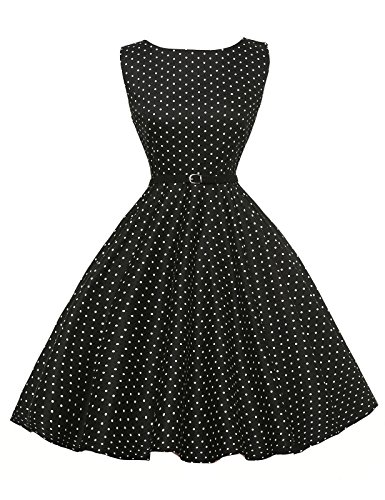 GRACE KARIN Robe de Soiree Bal 1950s Rockabilly Pin up Robe Plissee Elegante au Genou L CL6086-3