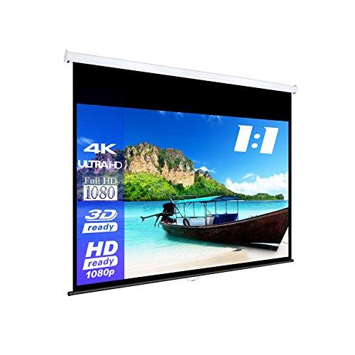 eSmart Germany MIROLO | Rolloleinwand | 213 x 213 cm (120″) 1:1 | Vollmaskierung | Heimkino Beamer Projektionsleinwand Rollo Leinwand LCD LED | Modell 2017