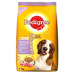 Pedigree Chicken & Rice, Dry Dog Food for Senior Dogs  , 3Kg
