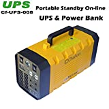 Chafon Cf-UPS008 New 2 in 1 Portable On-line 12V 26AH 288WH Lightweight Lithium Cells Li-ion Battery UPS Uninterruptible Power Supply Back up for Computer + Outdoor Activities-Long Time Standby Power Supply 4 USB ports and 230V AC Plugs with Led Light and Solar Charger Function-Yellow