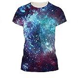 Jiayiqi Junioren Blau Galaxie Universum T-Shirt Kurzarm Sternenhimmel Paar Abschläge XL