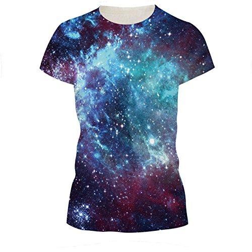 Junioren Blau Galaxie Universum T-Shirt Kurzarm Sternenhimmel Paar Abschläge L (Lange Abschläge Nur)