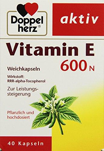 Doppelherz Vitamin E 600 N Weichkapseln / Arzneimittel pflanzlich und hochdosiert / Vitamin E zur Leistungssteigerung / 1 x 40 Kapseln