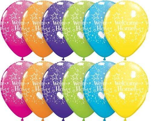 Preisvergleich Produktbild 10 x Welcome Home, Stars & Swirls Party Balloons - 11 (Blue/Red/Green/Orange/Yellow) by Swoosh Supplies