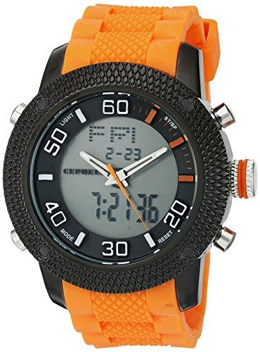 CEPHEUS - CP903-620C - Montre Homme - Quartz Analogique et Digitale - Alarme/Eclairage - Bracelet Silicone Orange