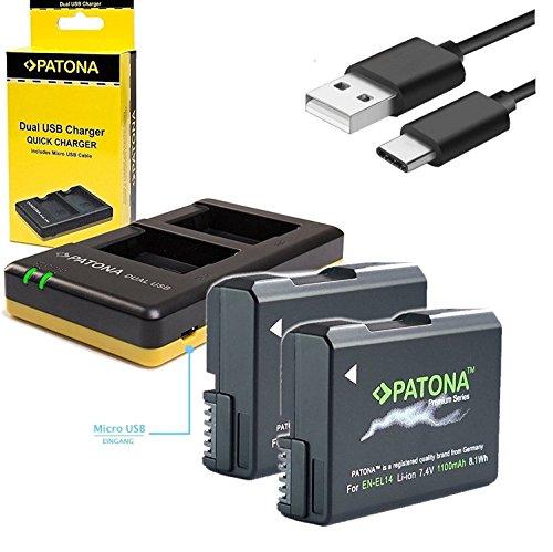 2x Akku Patona Premium für Nikon EN-EL14 EN-EL14a mit 1100mAh und USB Dual Ladegerät (Ep-32 Gb-usb -)