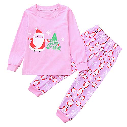 ten Kinder Cartoon Brief Cartoon Santa Print Top + Hosen Set Outfit ()