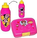 Unbekannt 2 TLG. Set _ Lunchbox / Brotdose + Trinkflasche -  Disney Minnie Mouse  - Brotbüchse Küche Essen - Kunststoff Sportflasche - 400 ml - für Mädchen / Kinder V..