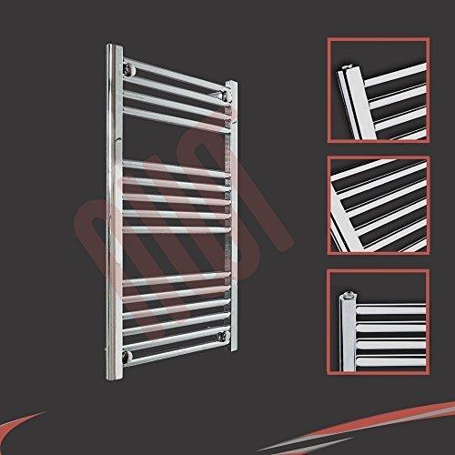 500mm (w) x 800mm (h) - Radiateur sèche-serviettes plat chromé Barre Horizontale Diamètre: 22mm, Bar Modèle: 4 + 5 + 6