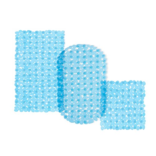 casa pura® Wanneneinlage Bubble | Bubble-Optik | blau-transparent | schadstoffgeprüft | als Badewanneneinlage und Duschmatte erhältlich | 3 Größen | rechteckig (69x36 cm) (Ovale Badewanne Bad Matte)
