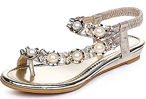 Odema Women Bohemia Beaded Rhinestones Toe Ring Flip-flop Shoes Flat Sandals