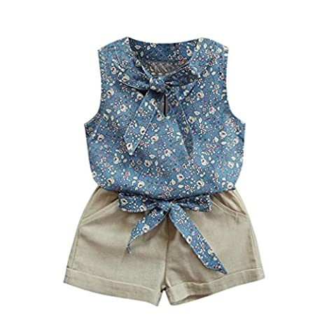 Tonsee Jolies filles Manches d'été T-shirt Shorts Vêtements Set Suit (2-3 ans, Bleu)